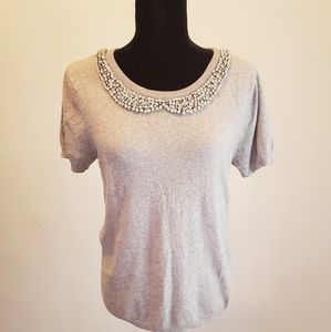 Sz L Elle grey sweater with rhinestone collar.
